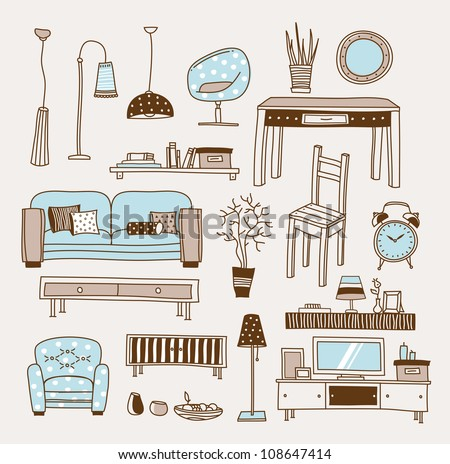 Set of vector icons for living room - stock vector