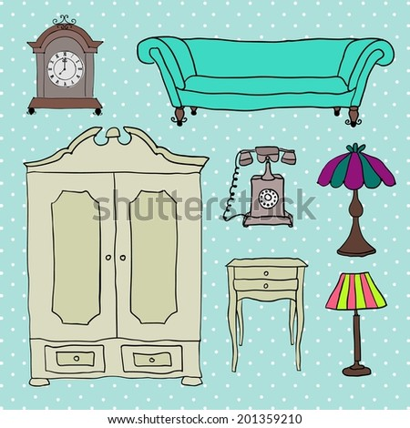 Set of vector icons for living room. - stock vector