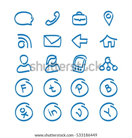 Set vector icons site social networks stock vector hd royalty free set of vector icons for the site social networks return call write a altavistaventures Images