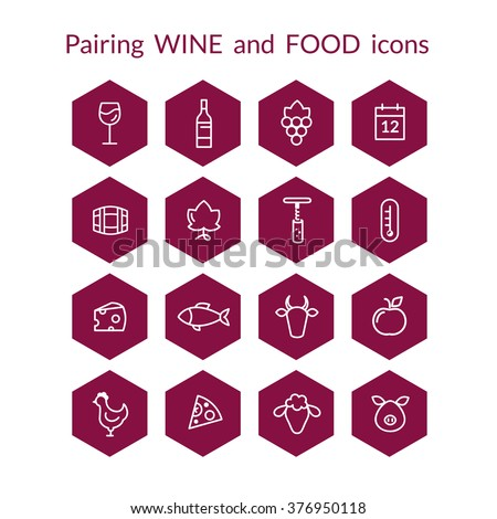 Set of vector icons for wine and food pairing matching, Includes fish, beef, pork, fruits, bottle, glass, grapes. White line icons on the dark red  background. - stock vector