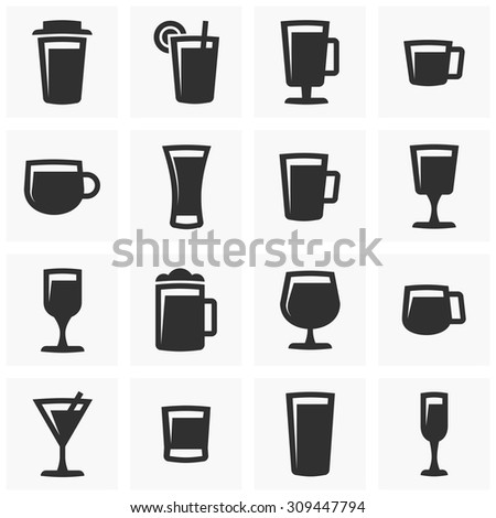 Set of vector icons - glasses. Drinks icons set.