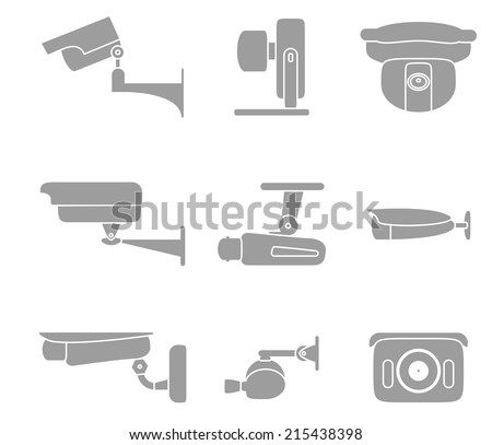 Set of vector icons graphic video surveillance cameras isolated on white background - stock vector
