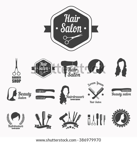 Set of vector icons: hairdresser's salon, hair care, beauty salon with scissors, hair, comb, silhouette of woman. - stock vector