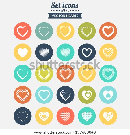 Set of 25 vector icons. Hearts with different registration. ?an be used for postcards with declarations of love on Valentine's day; for web pages, in computer design, banners, templates.
