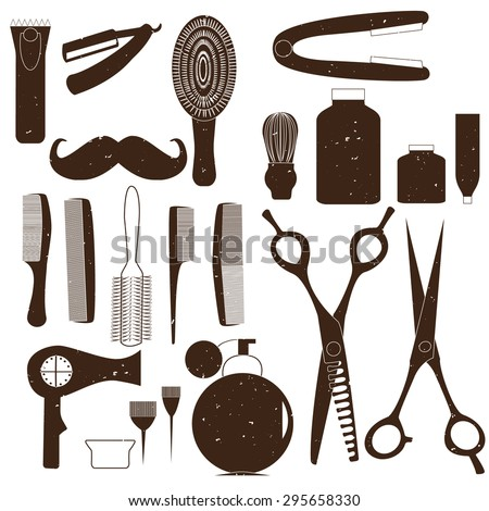 Set of vector icons in flat style. Barber, beauty salon, a set of tools to care for hair. - stock vector
