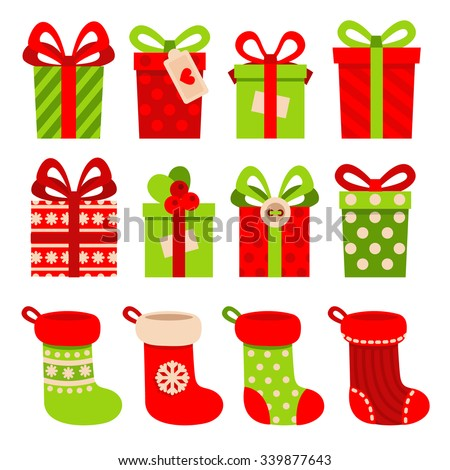 Set vector icons flat style christmas 339877643 set of vector icons in flat style for christmas stylish set of gifts and christmas negle Gallery