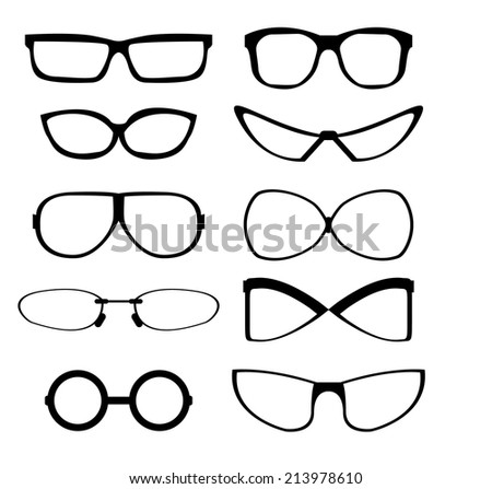 Set of vector icons in view of the various types of glasses - stock vector
