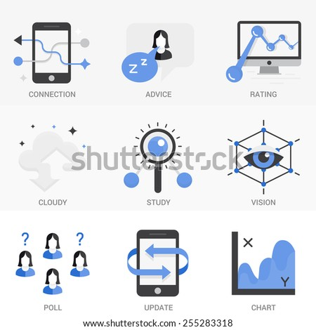 Set of vector icons into flat style. Cloud storage, 3D visualization, exchange and transmission of information, search engine optimization. Isolated Objects in a Modern Style for Your Design. - stock vector