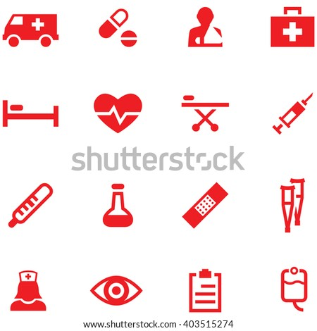 Set of vector icons medicine and first aid. - stock vector