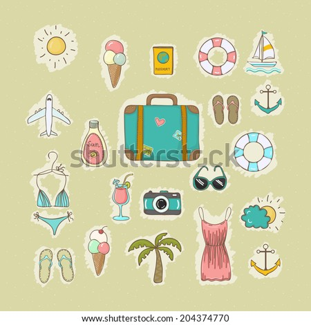 Set of vector icons objects on summer vacation and travel theme to hand drawn style