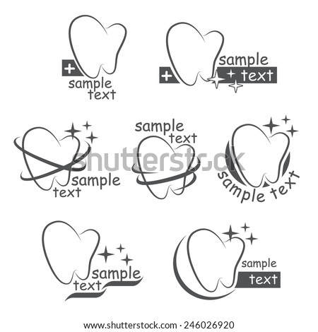 Set of vector icons of a teeth for your design - stock vector