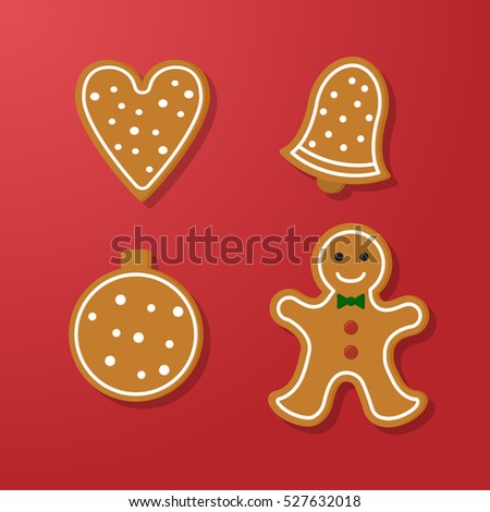 Set of vector icons of Christmas ginger bread cookies. Gingerbread men and  heart, bell and other holiday symbols, baked by hand. Festive baking for winter holidays