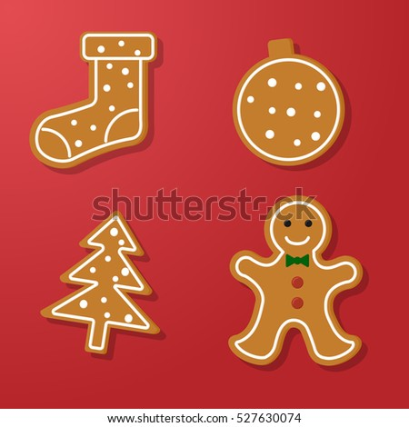 Set of vector icons of Christmas ginger bread cookies. Gingerbread men and other holiday symbols, baked by hand. Festive baking for winter holidays