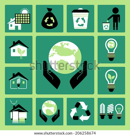Set of vector icons of ecology and energy saving - stock vector