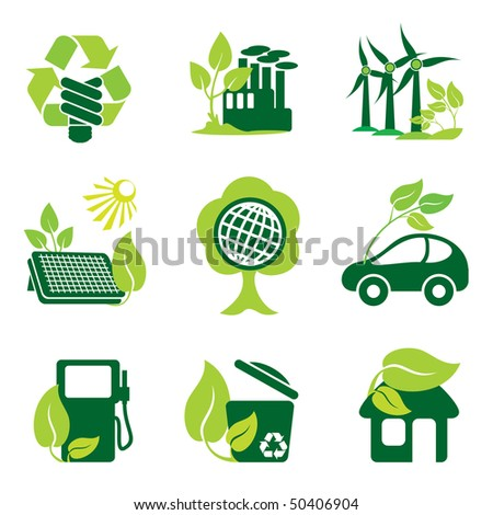 set of vector icons of environment protection and renewable sources of power
