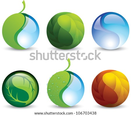 Set of vector icons of harmony symbols representing balance with nature or environmental conservation. - stock vector