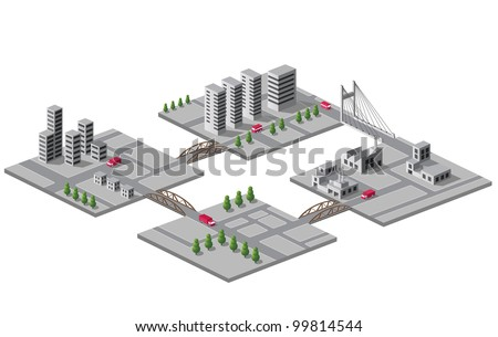 Set of vector icons of isometric on the city - stock vector