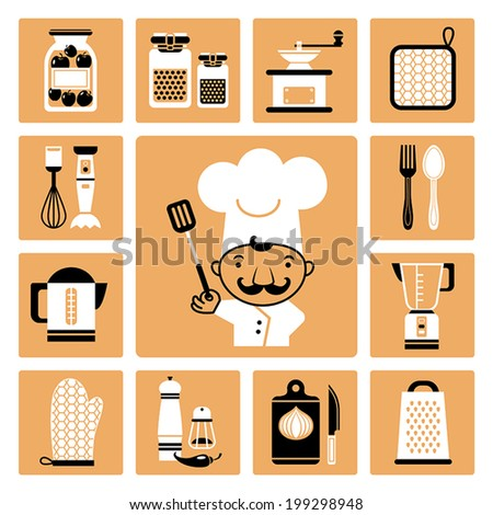 Set of vector icons of kitchen equipment, crockery and cook. - stock vector