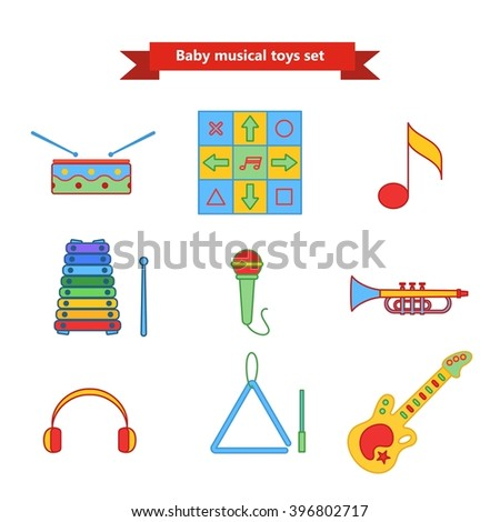 Set of vector icons of musical instrument. Vector illustration in a flat style. Collection  vector elements for web design, mobile applications, design flyers, discounts and advertising