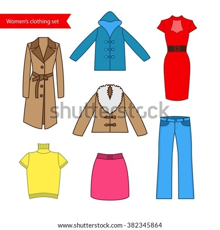 Set of vector icons of women's clothing for your design. Colorful women's clothing icons collection. Set of vector icons for design labels, flyers, discount vouchers and advertising - stock vector