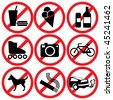 set of vector icons. Prohibitory information signs - stock vector