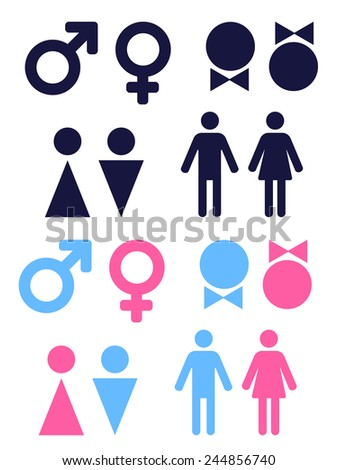 set of vector icons symbolizing male and female persons - stock vector
