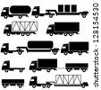 Set of vector icons - transportation symbols. Black on white. Vector illustration. - stock vector