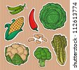 Set of vector icons, vegetable stickers. Fresh vegetables. Easily editable vector. Vegetable family. Funny cartoon and vector isolated characters. - stock vector