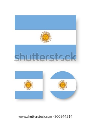 Set of vector icons with Argentina flag Argentine - stock vector