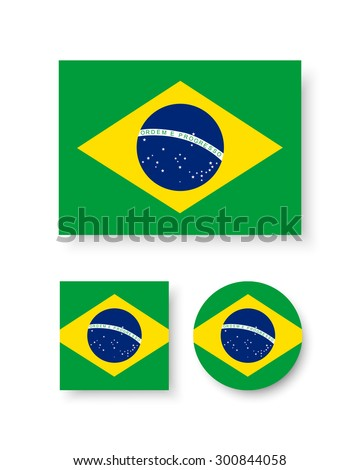 Set of vector icons with Brazil flag - stock vector