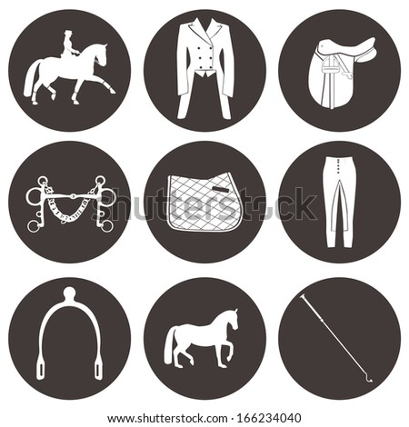 Set of vector icons with dressage equipment. High quality equestrian illustration, including everything you need for dressage competition - saddle, spurs, horse, pad, whip and other horse gear.  - stock vector