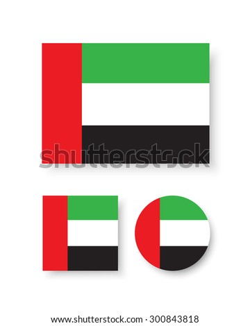 Set of vector icons with flag of the United Arab Emirates