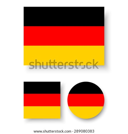 Set of vector icons with Germany flag