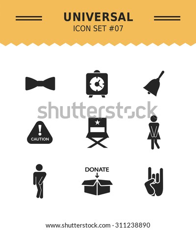 Set of vector icons with various concepts, isolated on white - stock vector