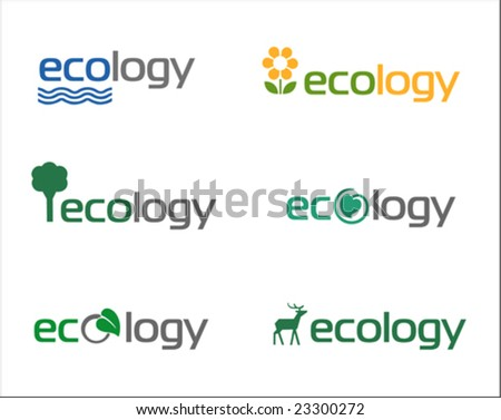 Set of vector illustrated ecology icons or logos - stock vector