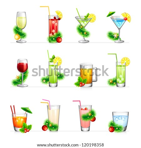 Set of vector illustration of different drinks and cocktails.For your New Year and Christmas design.Isolated on white. - stock vector