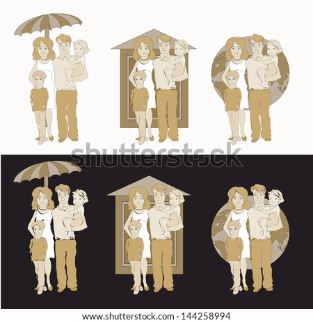 set of 3 vector illustration of happy family with different symbols of protection backward: umbrella, house, globe - stock vector