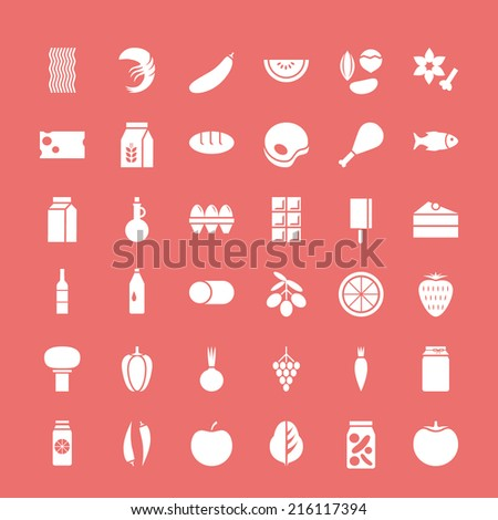 Set of vector illustration white icons for food and drinks, vegetables, fruits, seafood, isolated on colorful background. For retail store, food production, farm business  - stock vector