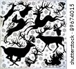 Set of vector illustration with deers silhouettes on an abstract background. - stock vector