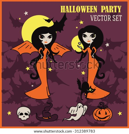 set of vector illustrations for halloween design