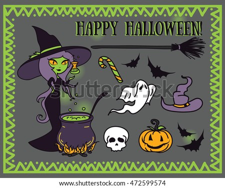 set of vector illustrations for halloween design, cartoon style