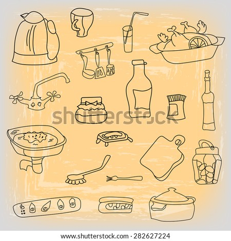 Set of vector illustrations for kitchen - food, dishes, dinnerware. Isolated on a black background for cafe menu, fliers, chalkboard. - stock vector