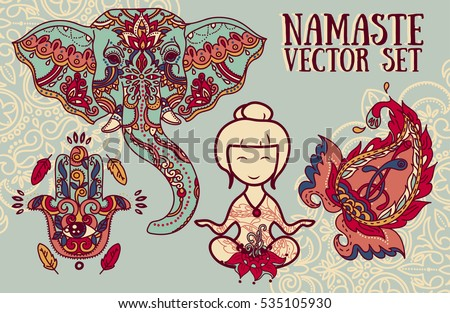 set of vector illustrations for magical india and yoga: meditation woman, elephant, paisley and hamsa