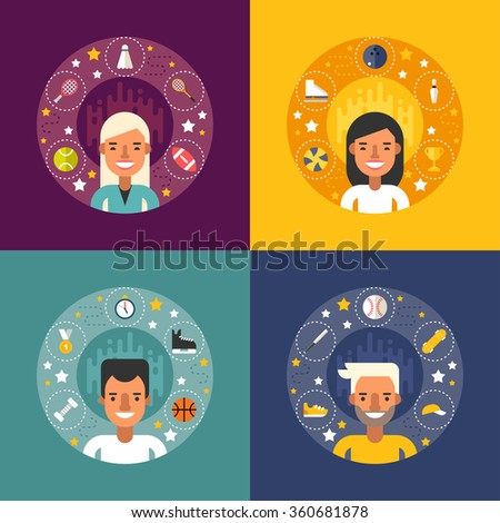 Set of Vector Illustrations in Flat Design Style. Sport Icons and Objects in the Shape of Circle. Sportsman Cartoon Characters - stock vector