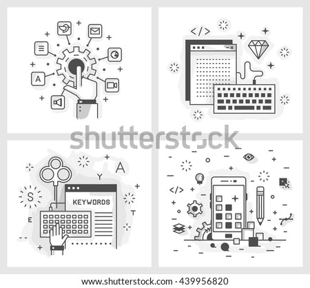 Set of vector illustrations in modern linear style, tuning applications, programming and design applications, keyword selection, adaptive design. - stock vector