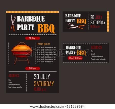 bbq tickets template - vector illustration design menu fast food stock vector