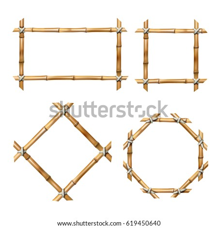 Set of vector illustrations of bamboo frames of various shapes in realistic style isolated on white