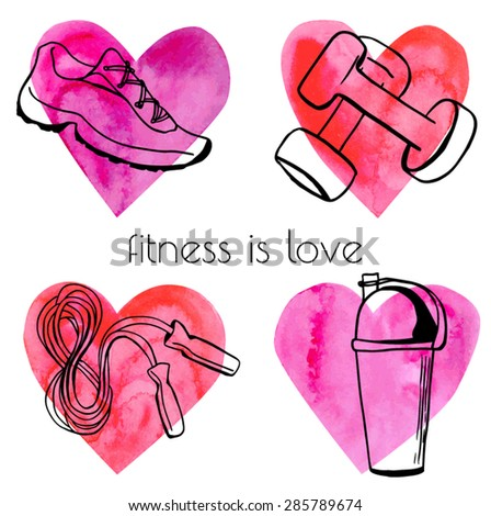 Set of vector illustrations of different fitness equipment on bright colorful watercolor hearts. Black sketchy outlines on pink paper textured background. - stock vector
