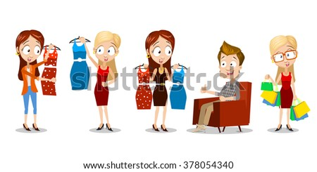 Set of vector illustrations of happy female characters buying new dresses. Characters have a great mood with smiles on their faces. Male person wait on the chair, showing thumb up. Sales for clothing
