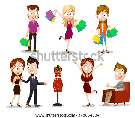 Set of vector illustrations of happy people characters having shopping. Male and female persons have a great mood with smiles on their faces, hands holding colorful shopping bags. Sales for clothing! - stock vector